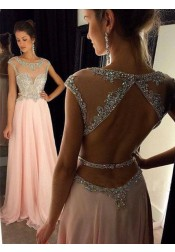 Sexy A-Line Bateau Floor Length Cap Sleeves Pink Prom/Evening Dress with Beading