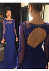 Mermaid Prom Dress/Evening Dress - Royal Blue Bateau Sweep Train Long Sleeves