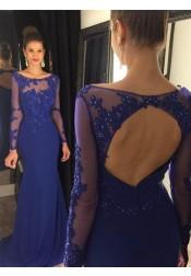 Mermaid Prom Dress/Evening Dress - Royal Blue Bateau Sweep Train Long Sleeves