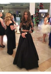 Two Piece Crew Floor-Length Long Sleeves Black Stretch Satin Prom Dress with Lace