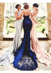 Mermaid High Neck Court Train Navy Blue Stretch Satin Bridesmaid Dress with Appliques Beading