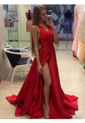 A-Line V-Neck Sweep Train Sleeveless Split-Side Red Satin Prom Dress
