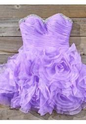Simple-dress Elegant A-line Strapless Beading Mini Lavender Homecoming Dresses/Sweet 16 Dresses/Cocktail Dress