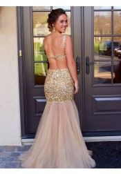 Sexy Mermaid Scoop Floor Length Tulle Backless Prom/Evening Dress With Beading