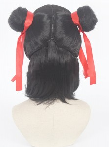 Cute NE ZHA Folk Hero Black Cosplay Styled Wig with Hairpins