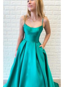 A-line Straps Sleeveless Floor Length Turquoise Satin Prom Dress