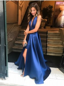 A-line Halter Backless Sleeveless Navy Long Prom Dress with Split