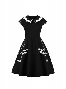 Halloween A-Line White Collar Black Vintage Dress with Embroidered Bat