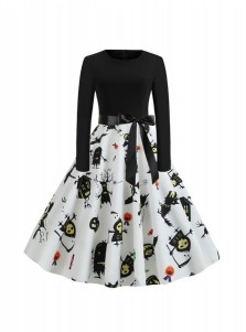Halloween Party A-Line Long Sleeves Black Vintage Swing Dress with Printed Ghost