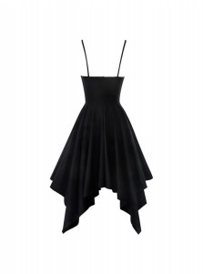 Hot A-Line V-neck Straps Sleeveless Asymmetrical Little Black Dress