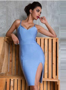 Women's Spaghetti Straps Blue Bodycone Dress with Split