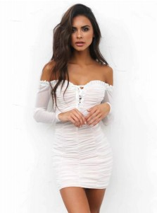 Women's Off-the-Shoulder Ruched White Bodycone Dress with Sleeves