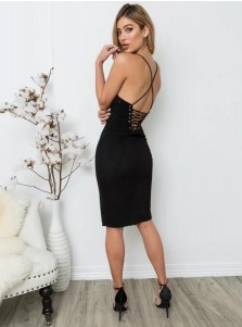 Black Bodycone Spaghetti Straps Black Women's Dress with Split