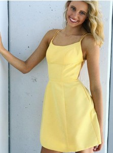 A-Line Spaghetti Straps Homecoming Dress with Pockets