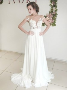 Elegant Illusion Bateau Sweep Train Wedding Dress with Appliques Split