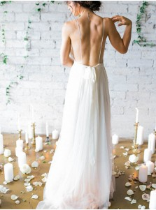 Cheap wedding dresses simple casual wedding dresses under 200 for a line deep v neck sweep train backless ivory chiffon wedding dress with pleats junglespirit Choice Image