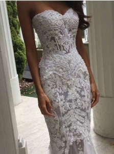 Trendy Sweetheart Sweep Train Mermaid Lace Wedding Dress with Pearls
