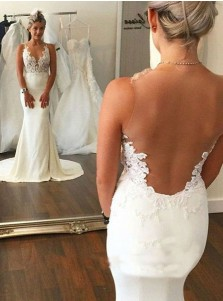 Hot Selling Mermaid Sleeveless Sweep Train Wedding Dress with Lace Illusion Back