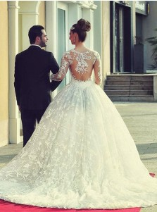 High Quality Sweep Train Ball Gown Lace Wedding Dress with Illusion Back