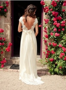 Glamorou V-neck Cap Sleeves Sweep Train Backless Wedding Dress with Lace Top Sash