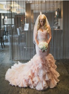 Stylish Sweetheart Tiered Train Organza Mermaid Wedding Dress with Beading