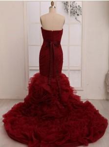Trendy Sweetheart Mermaid Tiered Train Wedding Dress with Sash