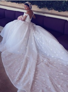 Stylish Off Shoulder Court Train Organza Wedding Dress with Lace Patchwork