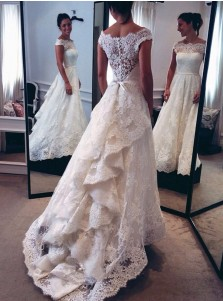 Nectarean Off Shoulder Cap Sleeves Sweep Train Lace Wedding Dress with Sash Ruffles