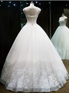 Glamorous Bateau Cap Sleeves Ball Gown Long Organza Wedding Dress with Beading Lace