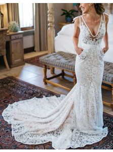 Generous Mermaid V-Neck Sleeveless Backless Ruched Lace Wedding Dress
