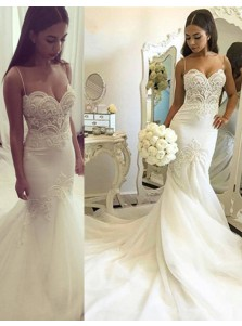 Nectarean Spaghetti Straps Mermaid Court Train Wedding Dress with Lace