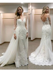Elegant Illusion Bateau Neck Long Sleeves Sheath Wedding Dress with Lace Detachable Train