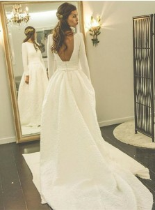 A-Line Boat Neck Backless Satin Wedding Dress with Sleeves
