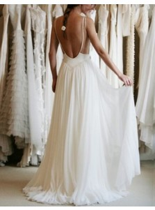 Modern Jewel Sleeveless Sweep Train Backless Wedding Dress with Lace