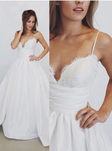 A-Line Spaghetti Straps Long Satin Wedding Dress with Lace Top
