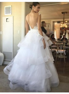 Glamorous Scoop Sleeveless Floor Length Tiered Wedding Dress with Lace Backless
