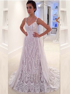 A-Line Straps Sweep Train Backless Tulle Wedding Dress with Appliques