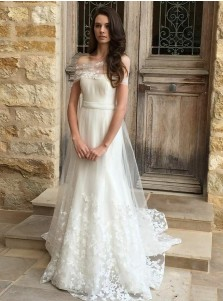 A-Line Off-the-Shoulder Sweep Train Tulle Wedding Dress with Appliques