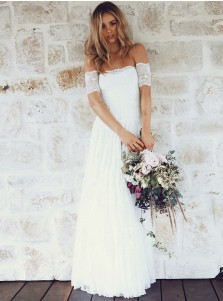 A-Line Off-the-Shoulder Short Sleeves Lace Boho Wedding Dress