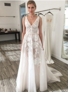 A-Line V-Neck Sweep Train Ivory Tulle Wedding Dress with Embroidery