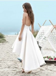 High Low Backless Satin Simple Beach Wedding Dress with Pockets