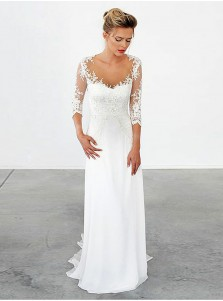 A-Line Illusion Scoop Sweep Train Chiffon Appliques Wedding Dress with Sleeves