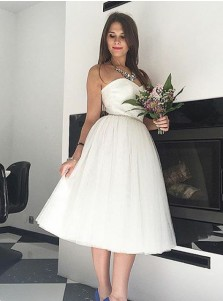 A-Line Sweetheart Mid-Calf Tulle Beach Wedding Dress with Beading