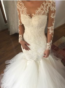 Mermaid Scoop Court Train Illusion Back Appliques Wedding Dress