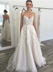 A-Line Spaghetti Straps Sweep Train Tulle Wedding Dress with Lace