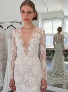 Sheath V-Neck Long Sleeves Sweep Train Lace Wedding Dress