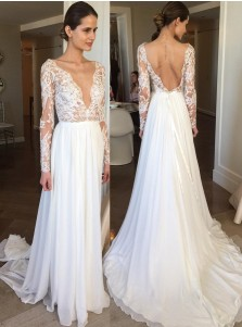 A-Line Deep V-Neck Backless Chiffon Lace Wedding Dress with Sleeves