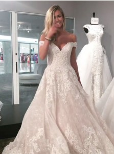 A-Line Off-the-Shoulder Sweep Train Lace Wedding Dress with Appliques