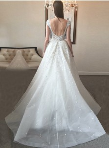 A-Line Scoop Court Train Tulle Backless Wedding Dress with Beading Appliques