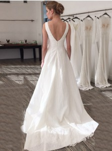 A-Line Illusion Bateau V-Back Court Train Pleated Satin Wedding Dress